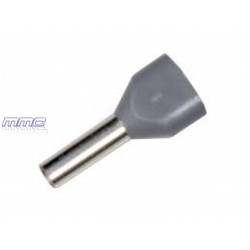 PUNTERA HUECA DOBLE CABLE 2X2,50MM GRIS 100UD
